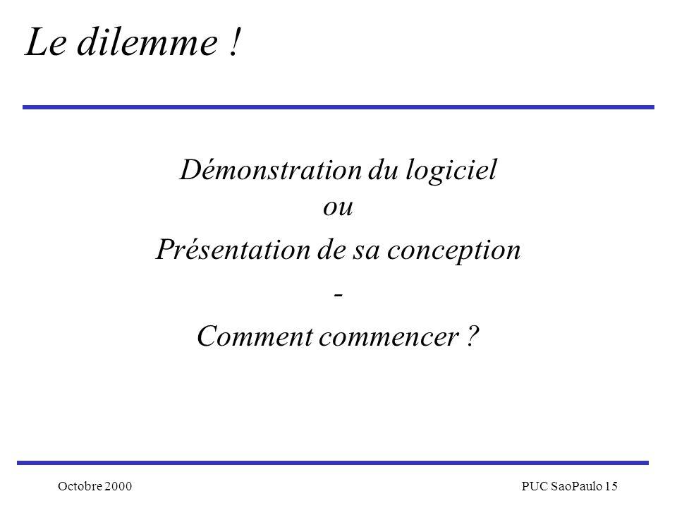Octobre 2000PUC SaoPaulo 15 Démonstration du logiciel ou Présentation de sa conception - Comment commencer ? Le dilemme !