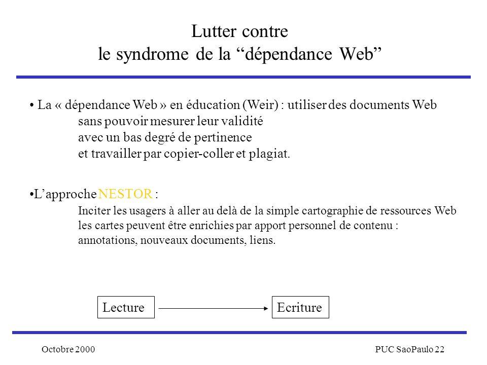 Octobre 2000PUC SaoPaulo 22 Lutter contre le syndrome de la dépendance Web La « dépendance Web » en éducation (Weir) : utiliser des documents Web sans