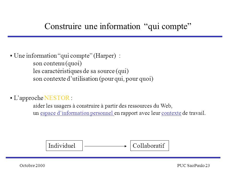 Octobre 2000PUC SaoPaulo 23 Construire une information qui compte Une information qui compte (Harper) : son contenu (quoi) les caractéristiques de sa