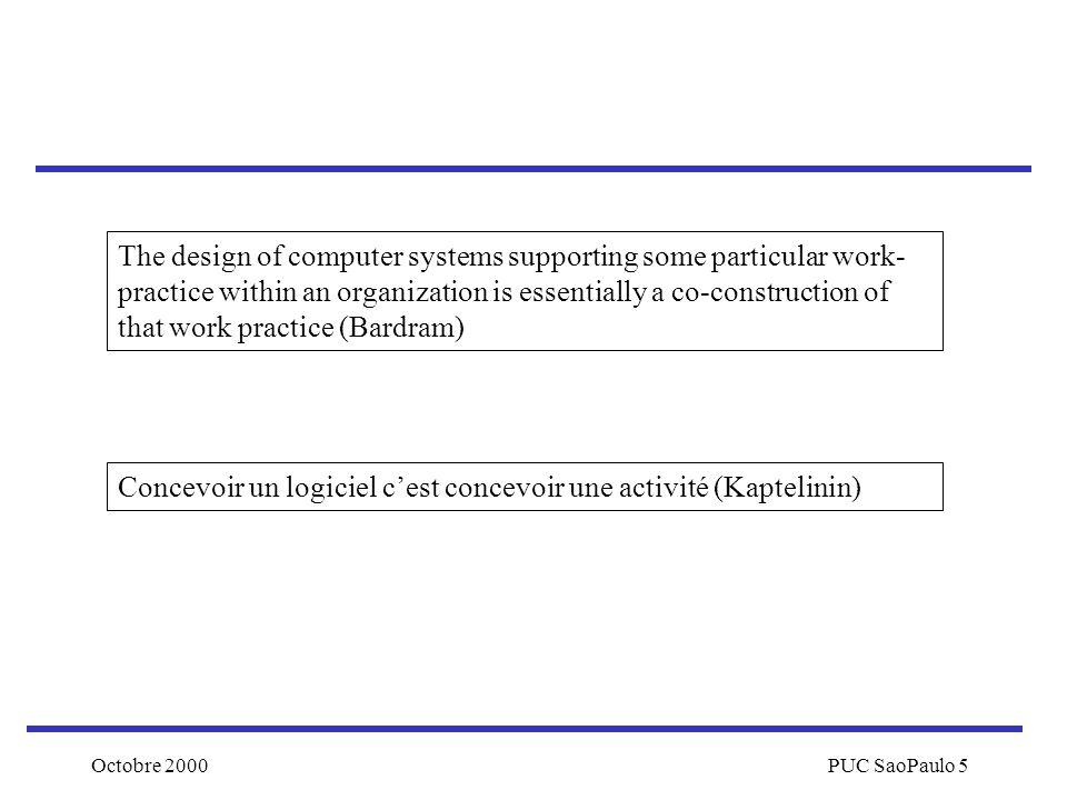 Octobre 2000PUC SaoPaulo 5 Concevoir un logiciel cest concevoir une activité (Kaptelinin) The design of computer systems supporting some particular wo