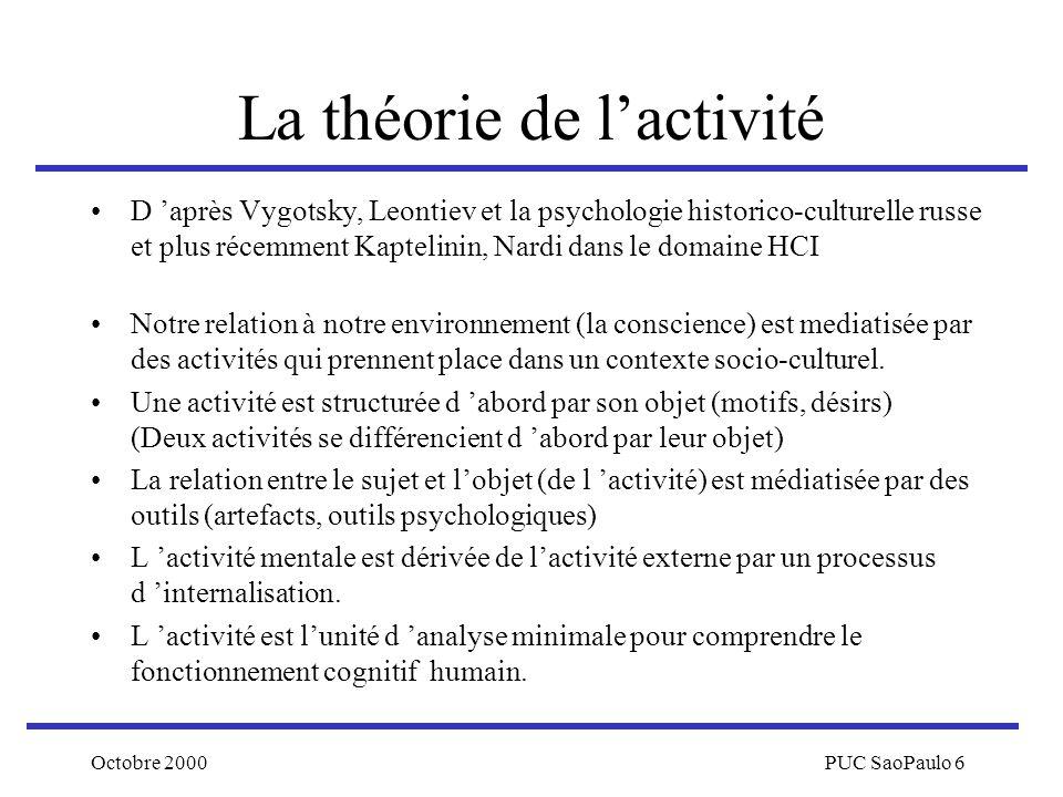 Octobre 2000PUC SaoPaulo 6 La théorie de lactivité D après Vygotsky, Leontiev et la psychologie historico-culturelle russe et plus récemment Kaptelini