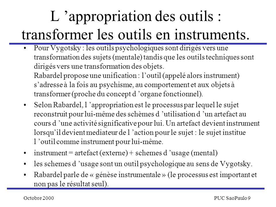 Octobre 2000PUC SaoPaulo 9 L appropriation des outils : transformer les outils en instruments. Pour Vygotsky : les outils psychologiques sont dirigés