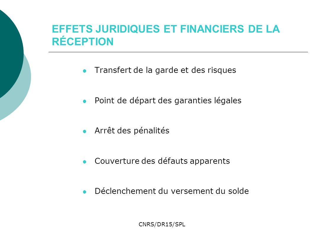 CNRS/DR15/SPL EFFETS JURIDIQUES ET FINANCIERS DE LA RÉCEPTION Transfert de la garde et des risques Point de départ des garanties légales Arrêt des pén