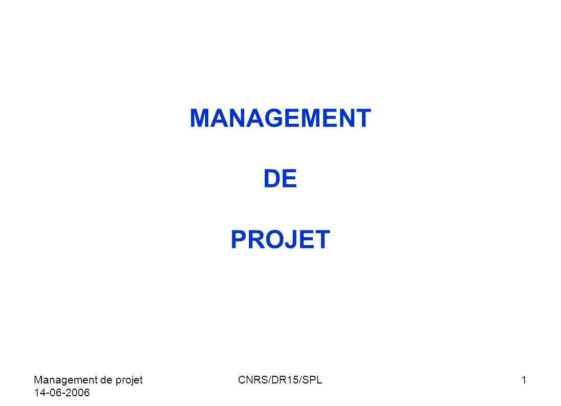 Management de projet 14-06-2006 CNRS/DR15/SPL22 GESTION DU PROJET QUESTIONS A SE POSER LE TRIÈDRE LES RESSOURCES POURQUOI PLANIFIER INFORMER / SINFORMER EQUIPE DU PROJET CARTE DES PARTENAIRES CHAPITRE IIIGESTION DU PROJETSOMMAIRE
