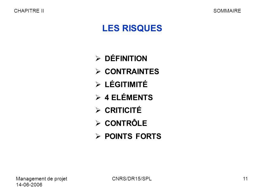 Management de projet 14-06-2006 CNRS/DR15/SPL11 LES RISQUES DÉFINITION CONTRAINTES LÉGITIMITÉ 4 ELÉMENTS CRITICITÉ CONTRÔLE POINTS FORTS CHAPITRE IISO