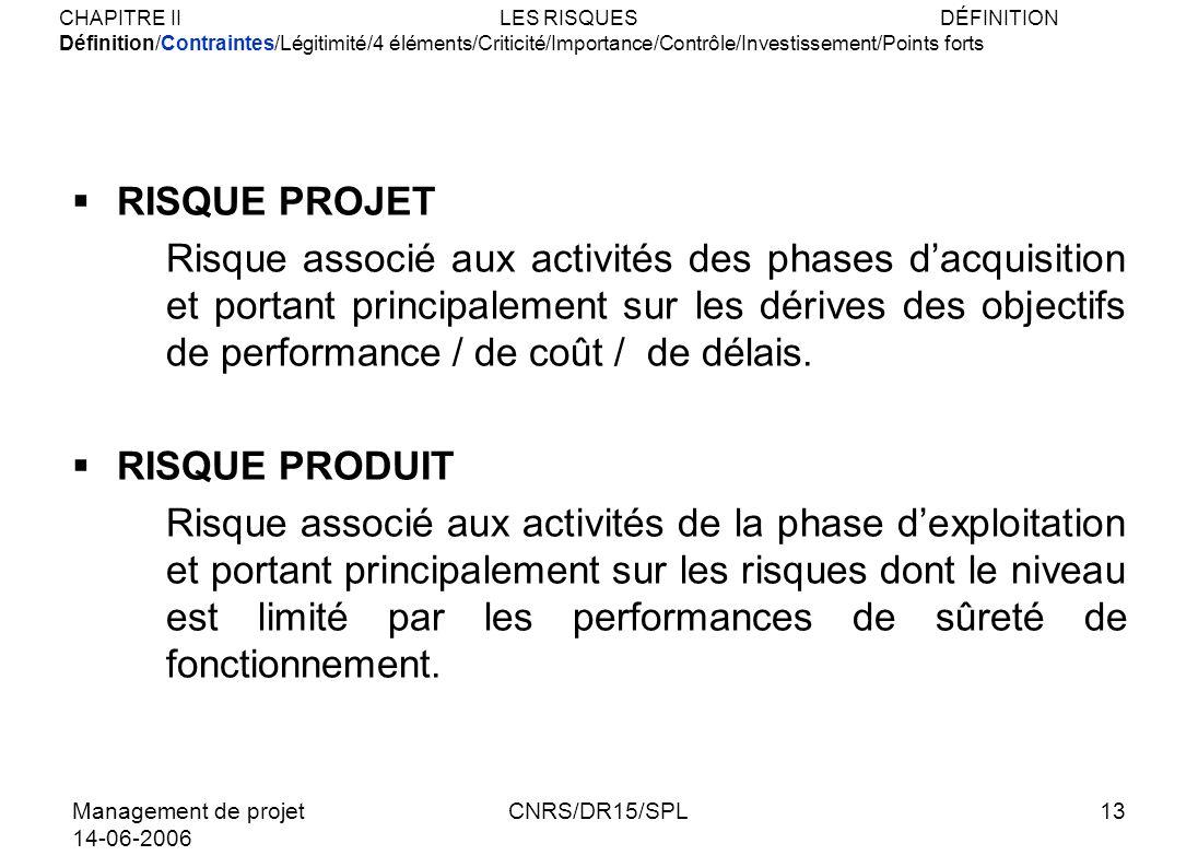 Management de projet 14-06-2006 CNRS/DR15/SPL13 RISQUE PROJET Risque associé aux activités des phases dacquisition et portant principalement sur les d