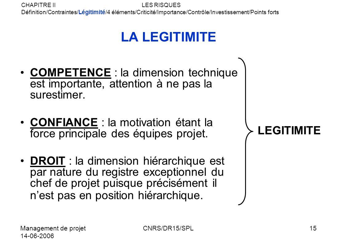 Management de projet 14-06-2006 CNRS/DR15/SPL15 LA LEGITIMITE COMPETENCE : la dimension technique est importante, attention à ne pas la surestimer. CO