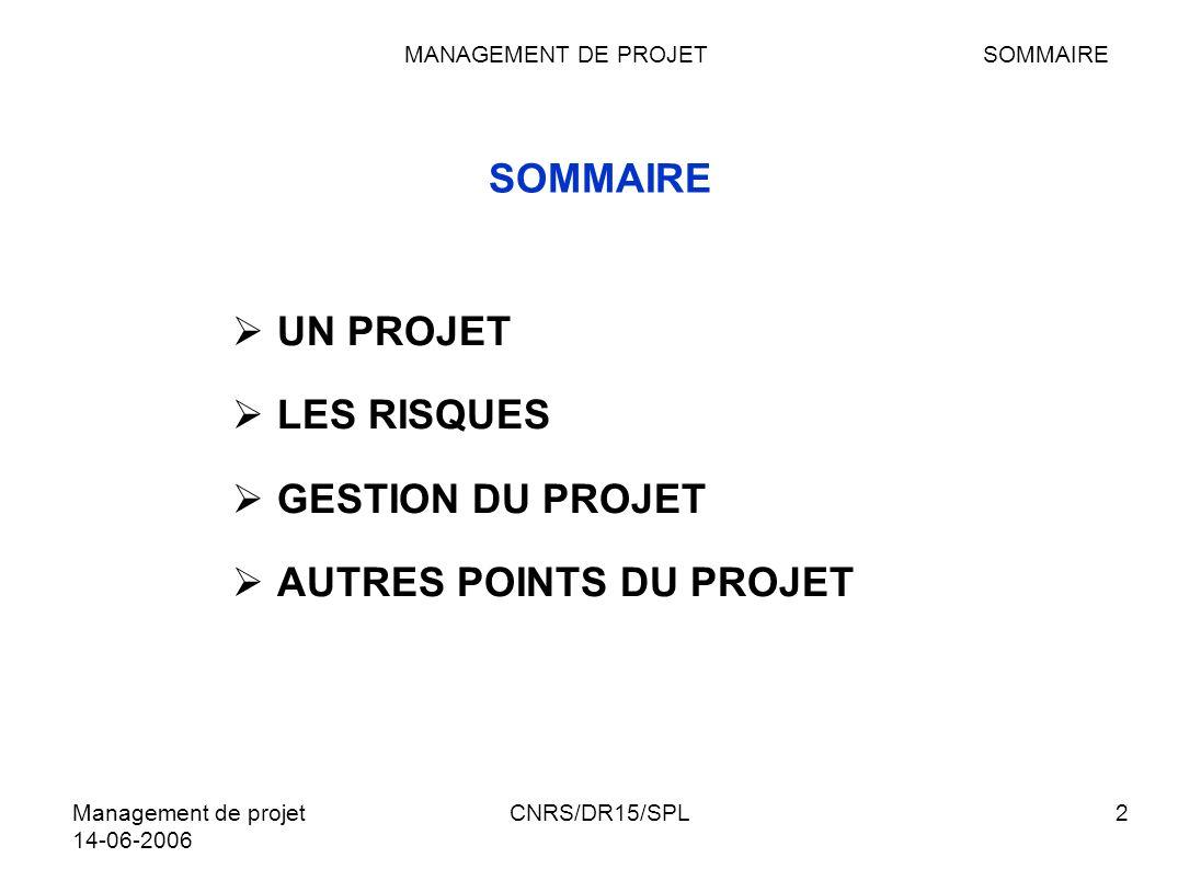 Management de projet 14-06-2006 CNRS/DR15/SPL23 QUESTIONS A SE POSER LA LOI QUINTILIEN QUI, QUOI, QUAND, OU, COMBIEN, COMMENT Pour chaque tâche on se posera les questions classiques : QUI : Responsable QUOI : Travail à réaliser QUAND: Durée OU/QUI: Ressources COMBIEN: Estimation (coût/temps…) COMMENT: Indicateur de fin de tâche et enchaînement POURQUOI CHAPITRE IIILES RISQUESQUESTIONS Questions/Trièdre/ Ressources/Pourquoi planifier/Informer/Equipe projet/Partenaires