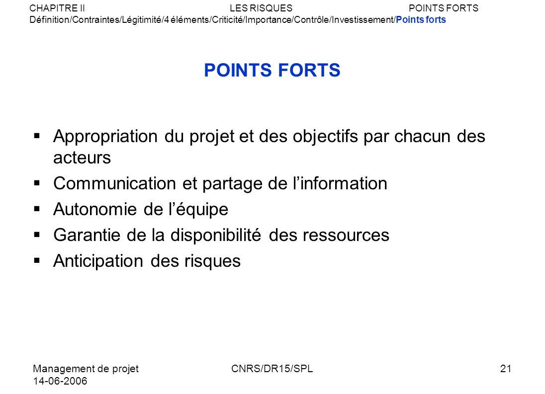 Management de projet 14-06-2006 CNRS/DR15/SPL21 POINTS FORTS Appropriation du projet et des objectifs par chacun des acteurs Communication et partage