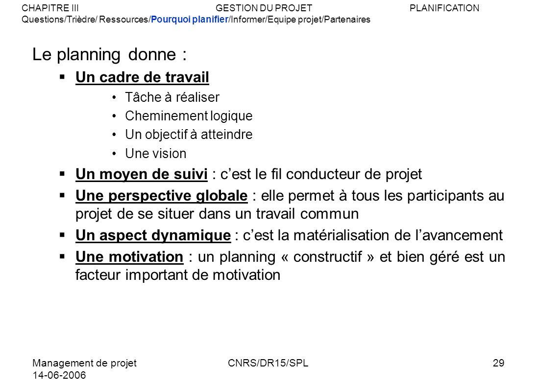 Management de projet 14-06-2006 CNRS/DR15/SPL29 Le planning donne : Un cadre de travail Tâche à réaliser Cheminement logique Un objectif à atteindre U