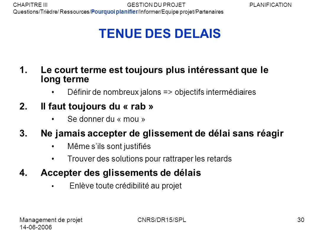 Management de projet 14-06-2006 CNRS/DR15/SPL30 TENUE DES DELAIS 1.Le court terme est toujours plus intéressant que le long terme Définir de nombreux