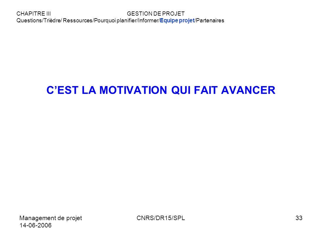 Management de projet 14-06-2006 CNRS/DR15/SPL33 CEST LA MOTIVATION QUI FAIT AVANCER CHAPITRE IIIGESTION DE PROJET Questions/Trièdre/ Ressources/Pourqu