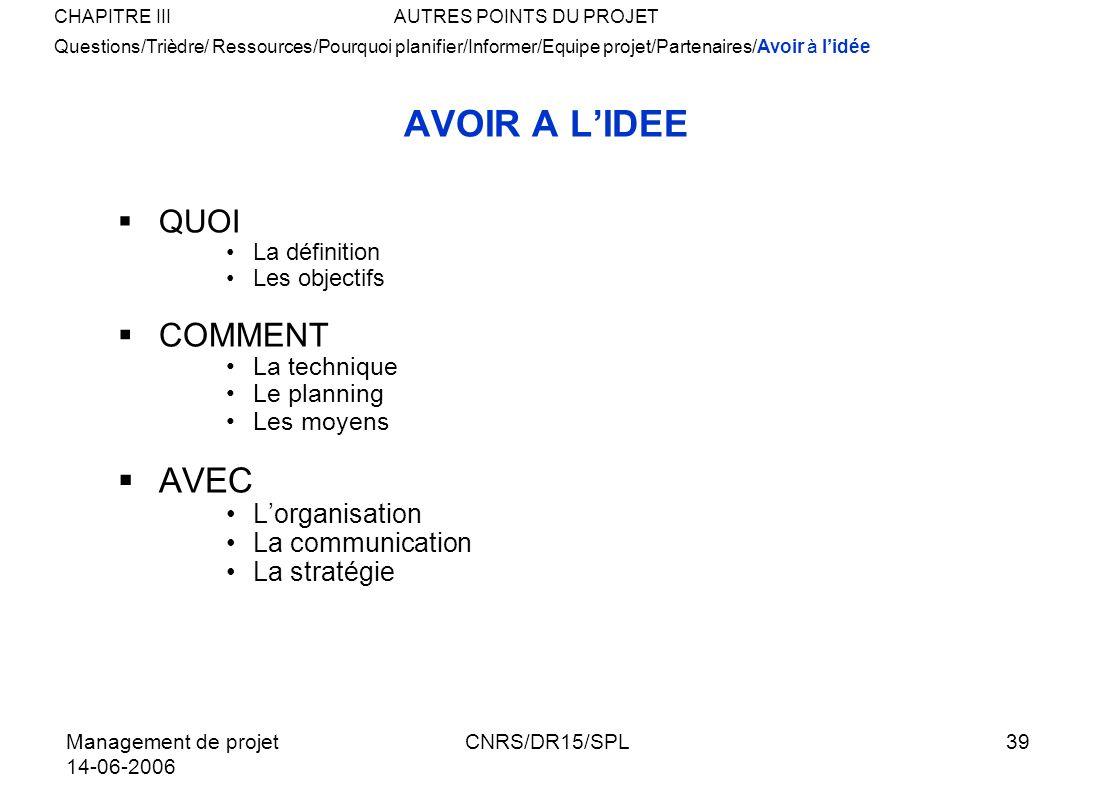 Management de projet 14-06-2006 CNRS/DR15/SPL39 AVOIR A LIDEE QUOI La définition Les objectifs COMMENT La technique Le planning Les moyens AVEC Lorgan