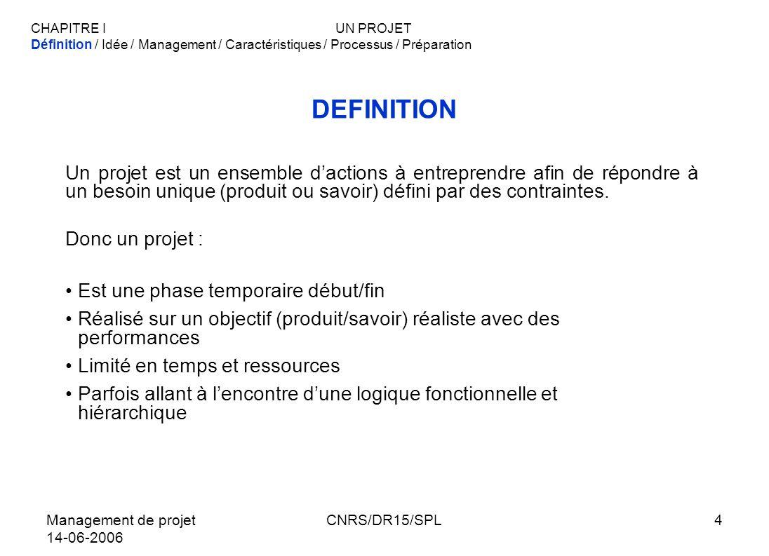 Management de projet 14-06-2006 CNRS/DR15/SPL5 COMMENT TRADUIRE UNE « IDEE » EN PROJET 1)Transformer lidée en objectifs Technique : Ce quon veut faire Délai: En combien de temps Coût : Avec quel budget 2)Définir les moyens nécessaires 3)Prévoir lorganisation et la gestion de projet CHAPITRE IUN PROJET Définition / Idée / Management / Caractéristiques / Processus / Préparation