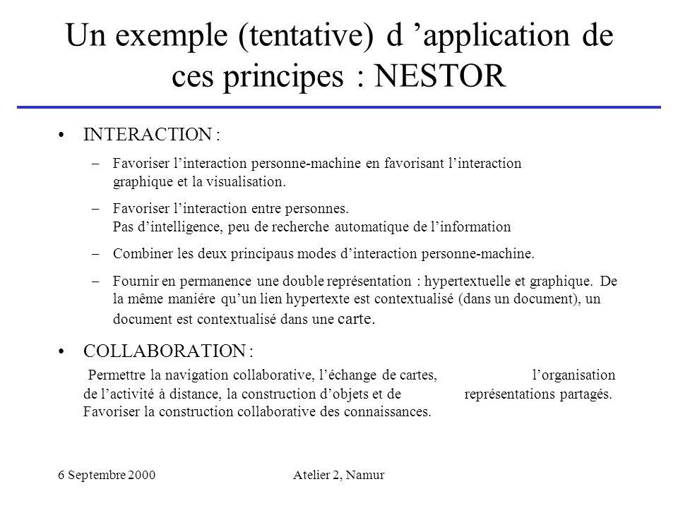 6 Septembre 2000Atelier 2, Namur Un exemple (tentative) d application de ces principes : NESTOR INTERACTION : –Favoriser linteraction personne-machine