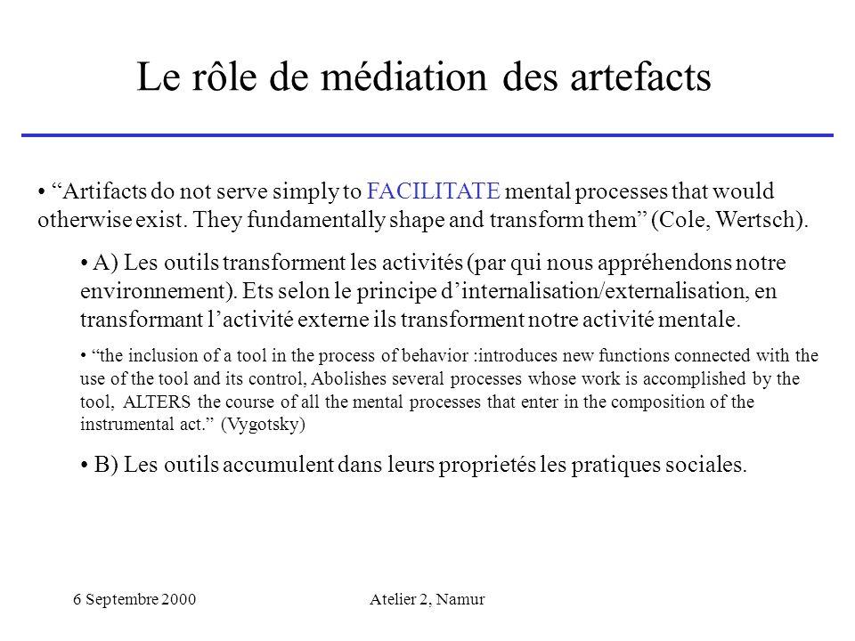 6 Septembre 2000Atelier 2, Namur Le rôle de médiation des artefacts Artifacts do not serve simply to FACILITATE mental processes that would otherwise