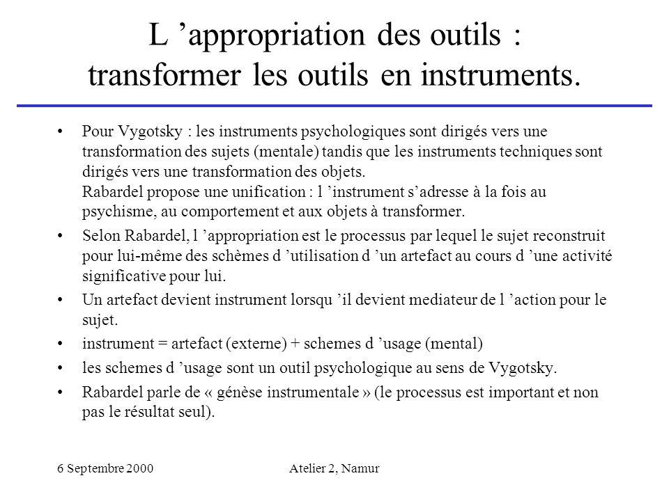 6 Septembre 2000Atelier 2, Namur L appropriation des outils : transformer les outils en instruments. Pour Vygotsky : les instruments psychologiques so