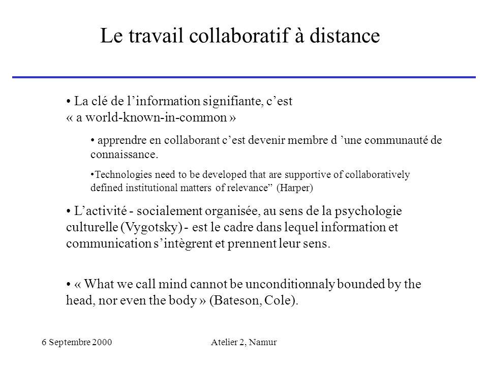 6 Septembre 2000Atelier 2, Namur Le travail collaboratif à distance La clé de linformation signifiante, cest « a world-known-in-common » apprendre en