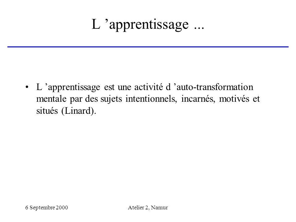 6 Septembre 2000Atelier 2, Namur L apprentissage... L apprentissage est une activité d auto-transformation mentale par des sujets intentionnels, incar