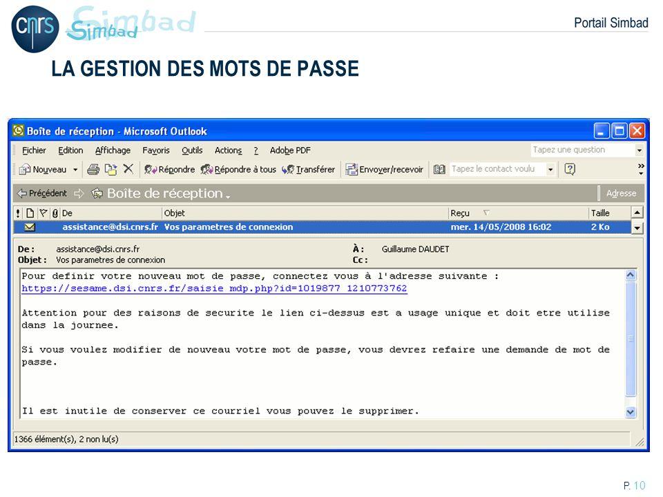 P. 10 LA GESTION DES MOTS DE PASSE