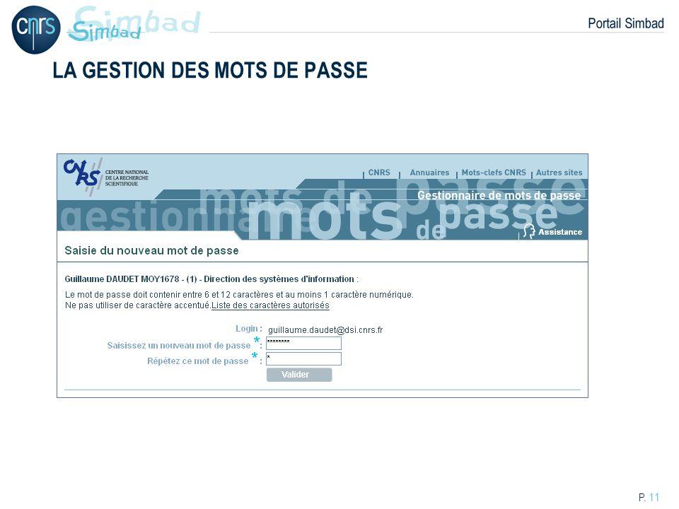 P. 11 LA GESTION DES MOTS DE PASSE