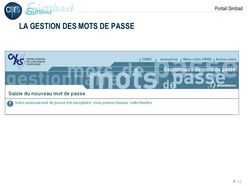 P. 12 LA GESTION DES MOTS DE PASSE