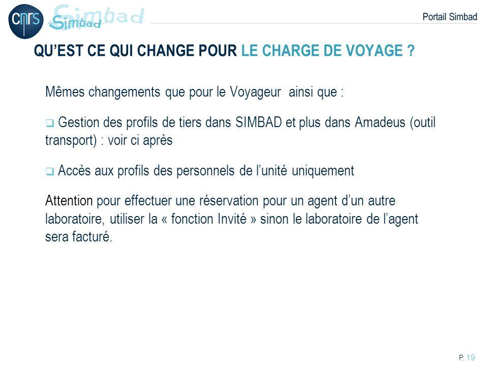 P. 19 QUEST CE QUI CHANGE POUR LE CHARGE DE VOYAGE ? Mêmes changements que pour le Voyageur ainsi que : Gestion des profils de tiers dans SIMBAD et pl