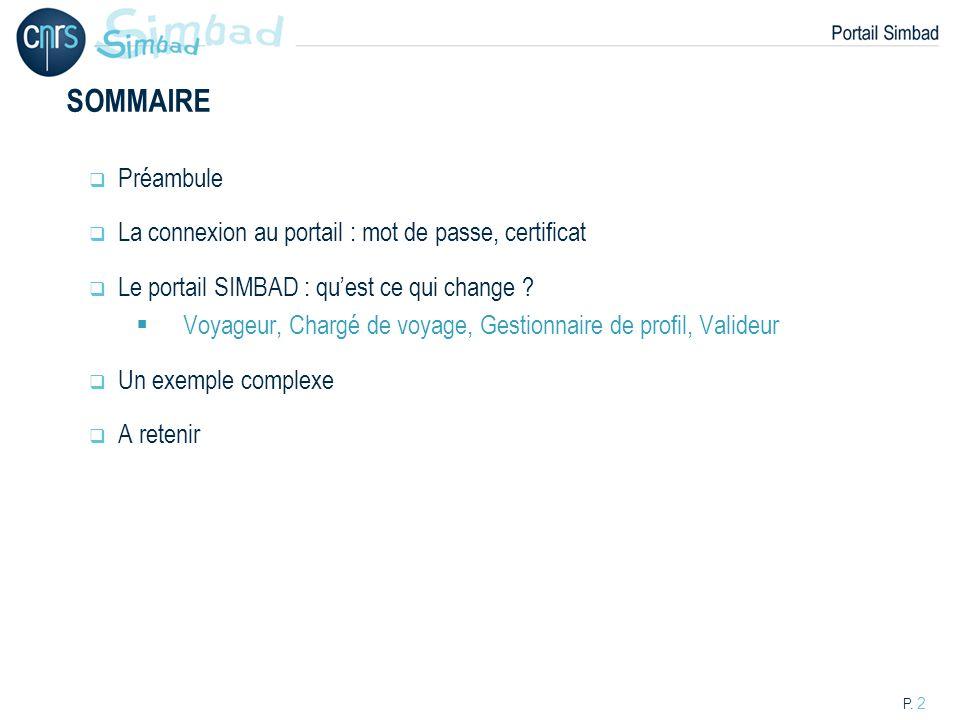 P. 2 SOMMAIRE Préambule La connexion au portail : mot de passe, certificat Le portail SIMBAD : quest ce qui change ? Voyageur, Chargé de voyage, Gesti