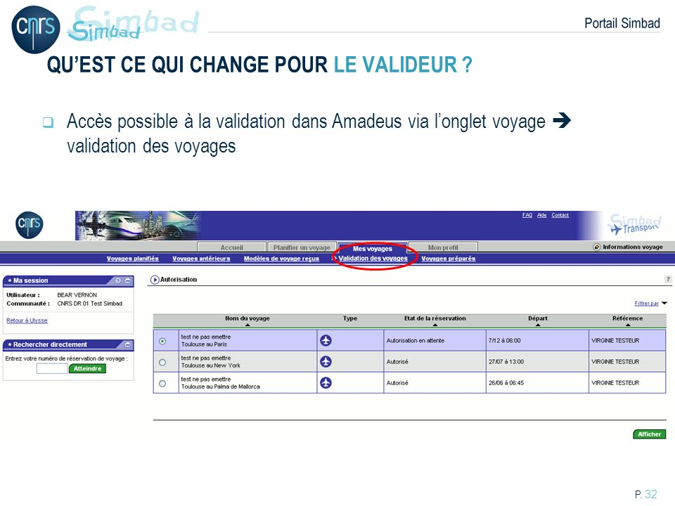 P. 32 QUEST CE QUI CHANGE POUR LE VALIDEUR ? Accès possible à la validation dans Amadeus via longlet voyage validation des voyages