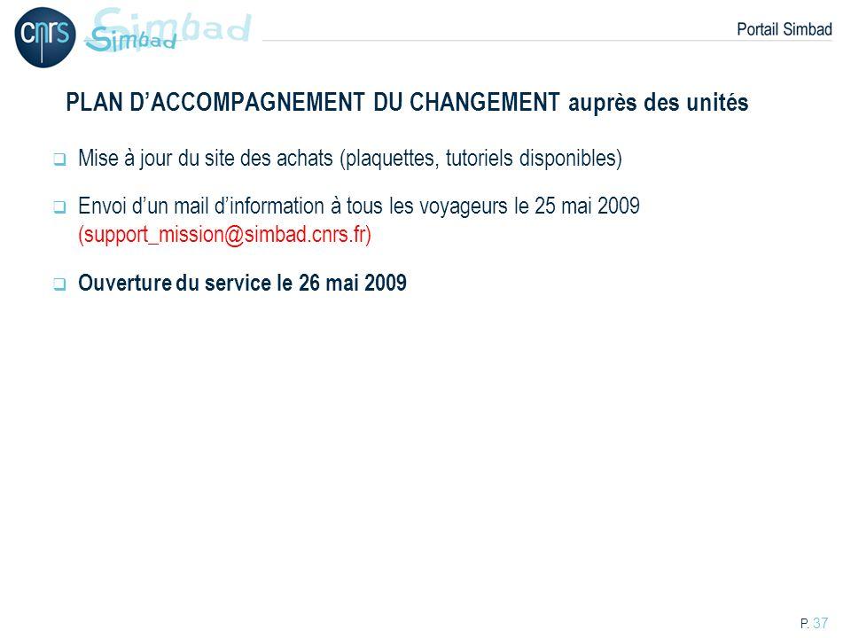 P. 37 PLAN DACCOMPAGNEMENT DU CHANGEMENT auprès des unités Mise à jour du site des achats (plaquettes, tutoriels disponibles) Envoi dun mail dinformat