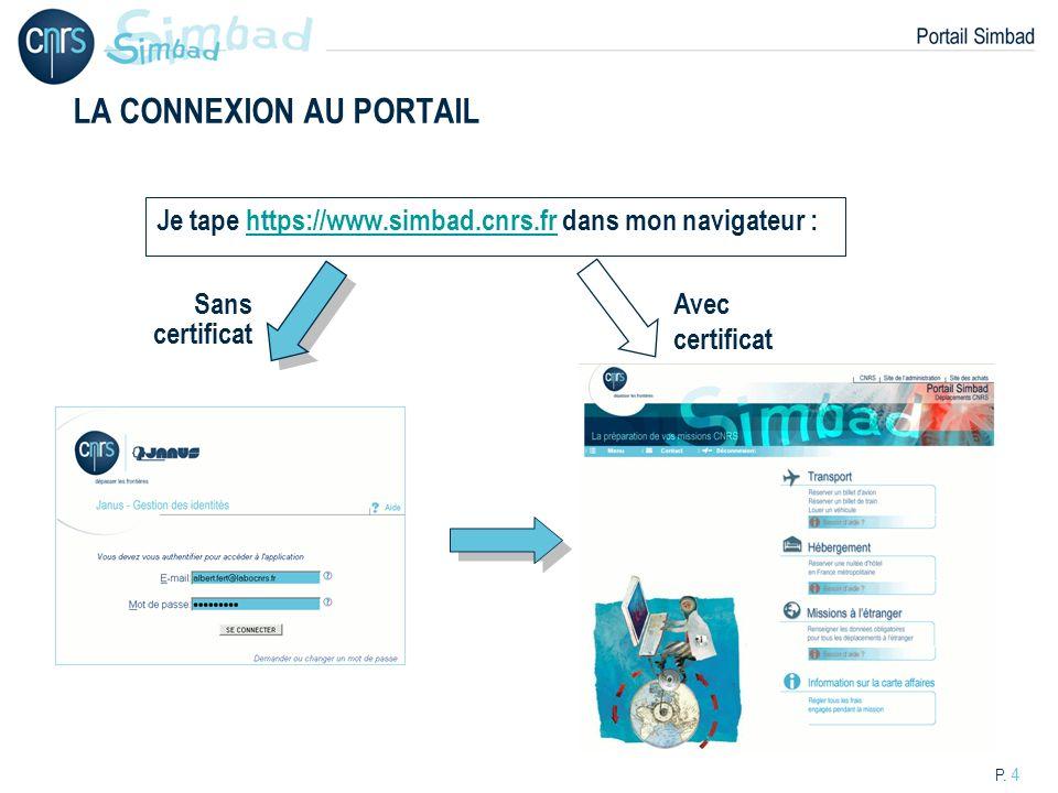 P. 4 LA CONNEXION AU PORTAIL Je tape https://www.simbad.cnrs.fr dans mon navigateur :https://www.simbad.cnrs.fr Avec certificat Sans certificat