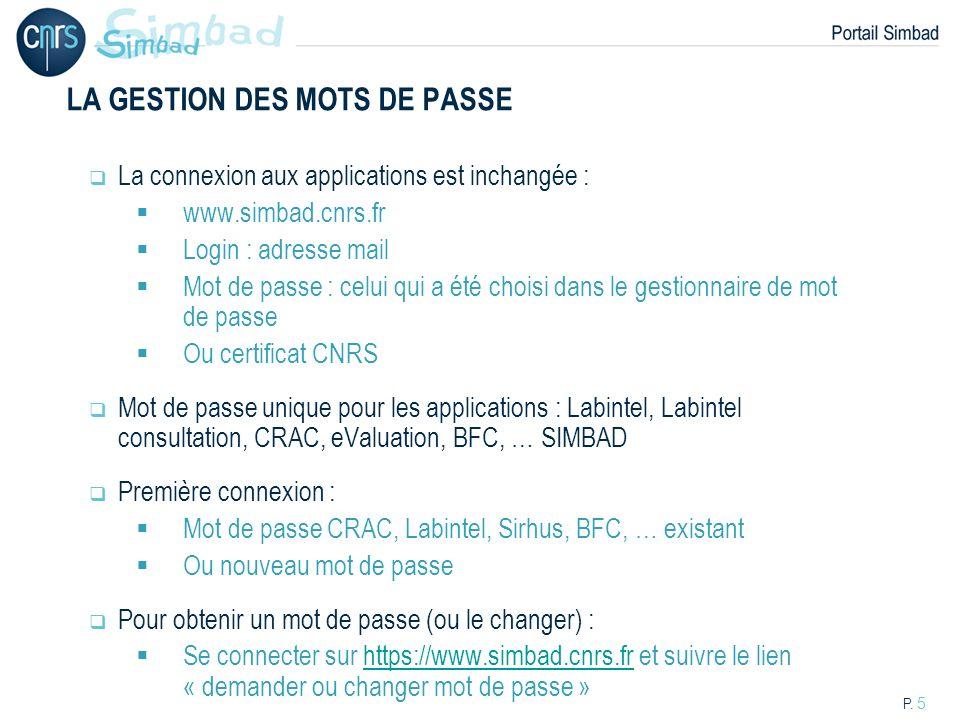 P. 5 LA GESTION DES MOTS DE PASSE La connexion aux applications est inchangée : www.simbad.cnrs.fr Login : adresse mail Mot de passe : celui qui a été