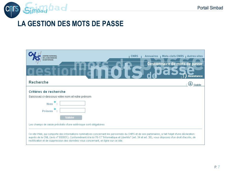 P. 7 LA GESTION DES MOTS DE PASSE