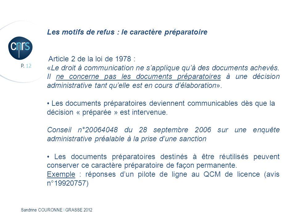 Sandrine COURONNE l GRASSE 2012 P. 12 Les motifs de refus : le caractère préparatoire Article 2 de la loi de 1978 : «Le droit à communication ne sappl