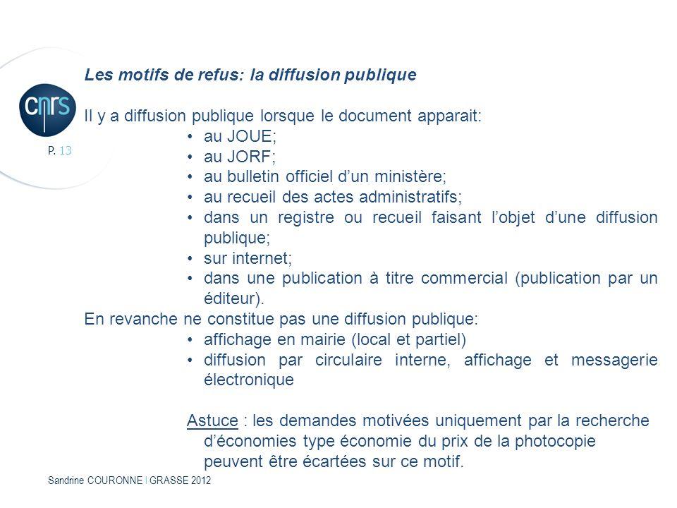 Sandrine COURONNE l GRASSE 2012 P. 13 Les motifs de refus: la diffusion publique Il y a diffusion publique lorsque le document apparait: au JOUE; au J