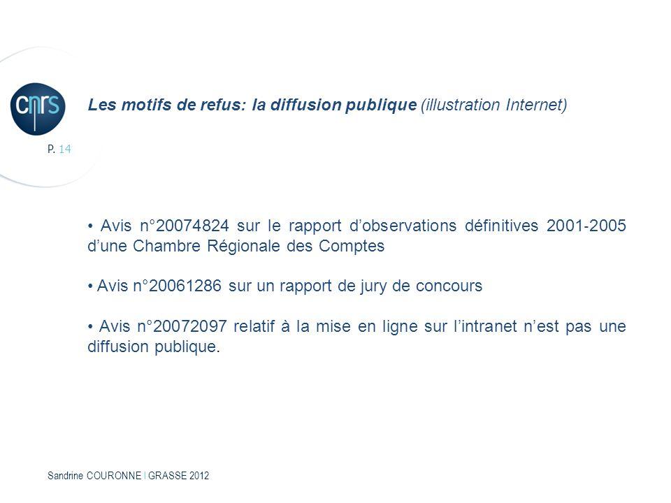 Sandrine COURONNE l GRASSE 2012 P. 14 Les motifs de refus: la diffusion publique (illustration Internet) Avis n°20074824 sur le rapport dobservations
