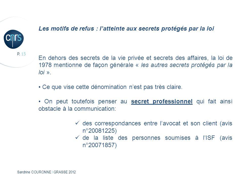 Sandrine COURONNE l GRASSE 2012 P. 15 Les motifs de refus : latteinte aux secrets protégés par la loi En dehors des secrets de la vie privée et secret
