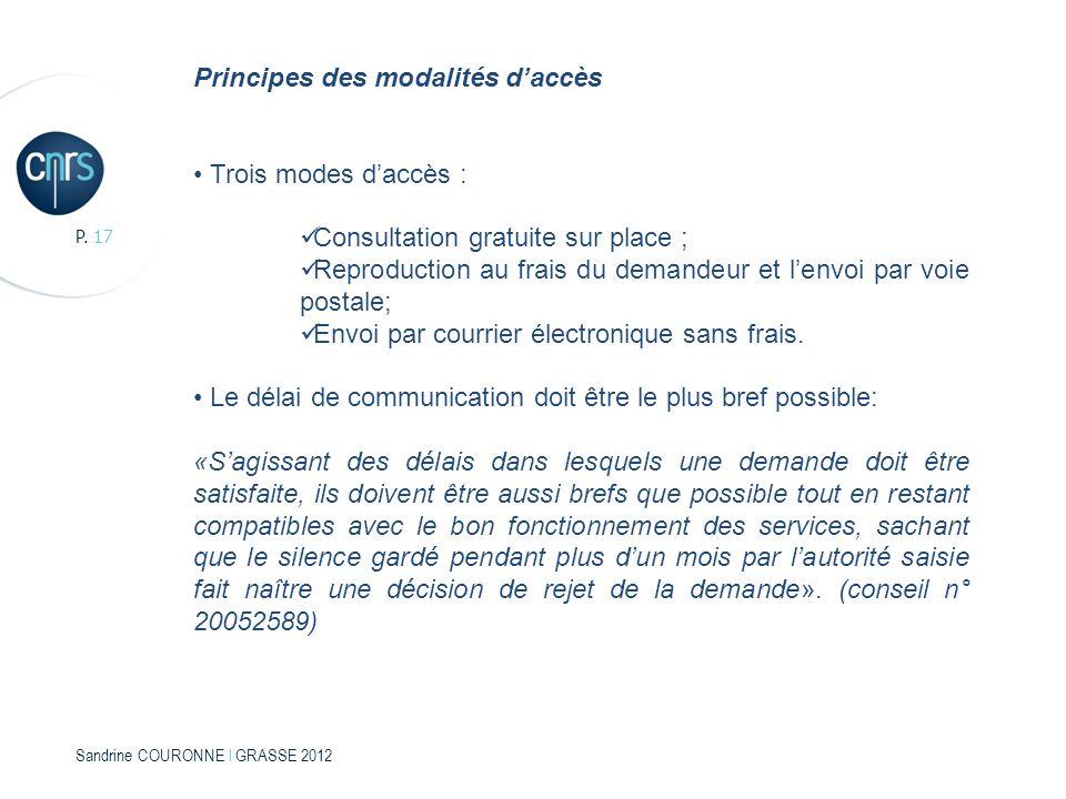 Sandrine COURONNE l GRASSE 2012 P. 17 Principes des modalités daccès Trois modes daccès : Consultation gratuite sur place ; Reproduction au frais du d