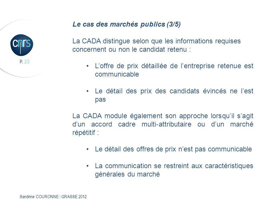 Sandrine COURONNE l GRASSE 2012 P. 23 Le cas des marchés publics (3/5) La CADA distingue selon que les informations requises concernent ou non le cand