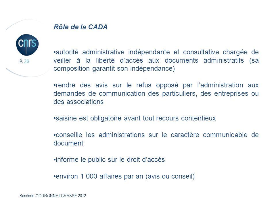 Sandrine COURONNE l GRASSE 2012 P. 28 Rôle de la CADA autorité administrative indépendante et consultative chargée de veiller à la liberté daccès aux