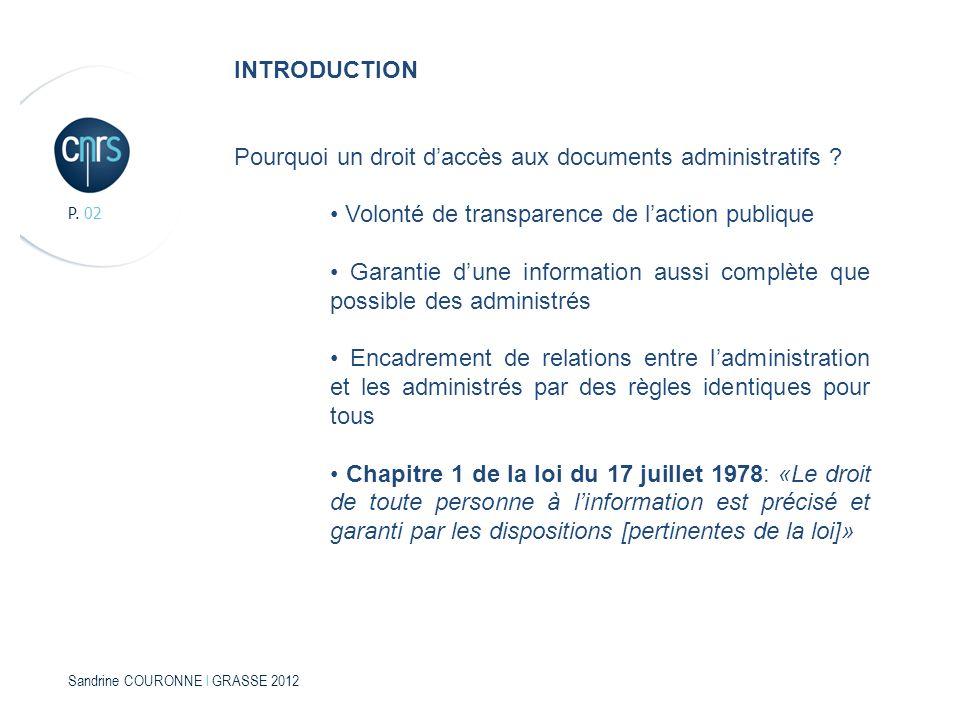 Sandrine COURONNE l GRASSE 2012 P. 02 INTRODUCTION Pourquoi un droit daccès aux documents administratifs ? Volonté de transparence de laction publique