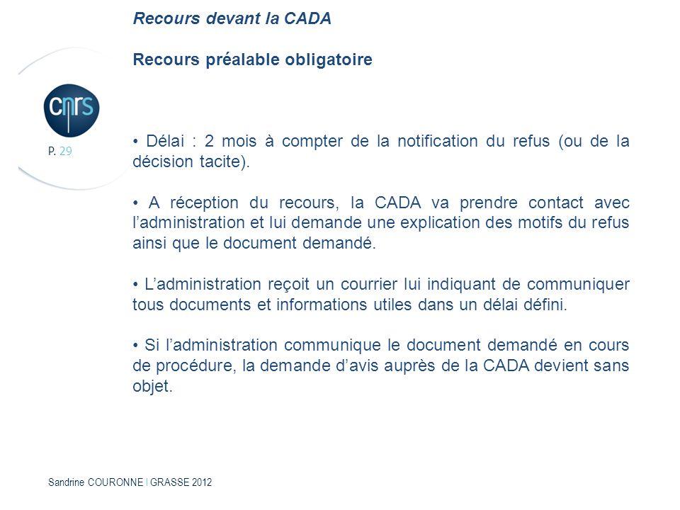 Sandrine COURONNE l GRASSE 2012 P. 29 Recours devant la CADA Recours préalable obligatoire Délai : 2 mois à compter de la notification du refus (ou de