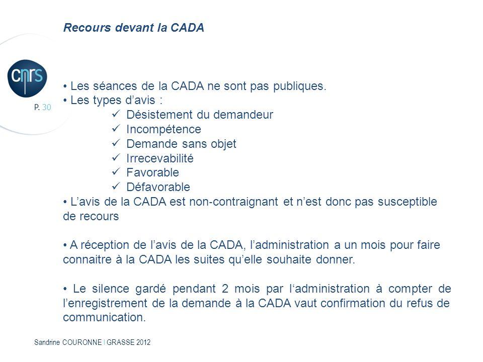Sandrine COURONNE l GRASSE 2012 P. 30 Recours devant la CADA Les séances de la CADA ne sont pas publiques. Les types davis : Désistement du demandeur
