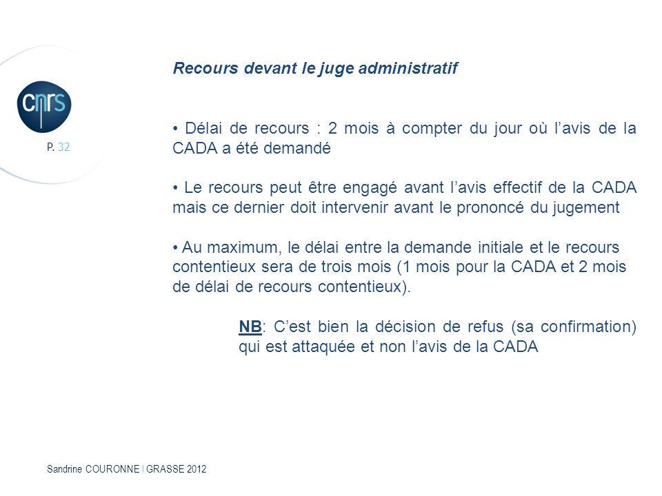 Sandrine COURONNE l GRASSE 2012 P. 32 Recours devant le juge administratif Délai de recours : 2 mois à compter du jour où lavis de la CADA a été deman