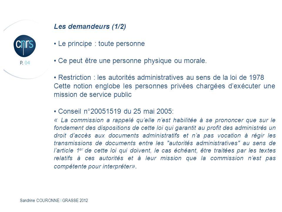 Sandrine COURONNE l GRASSE 2012 P. 04 Les demandeurs (1/2) Le principe : toute personne Ce peut être une personne physique ou morale. Restriction : le