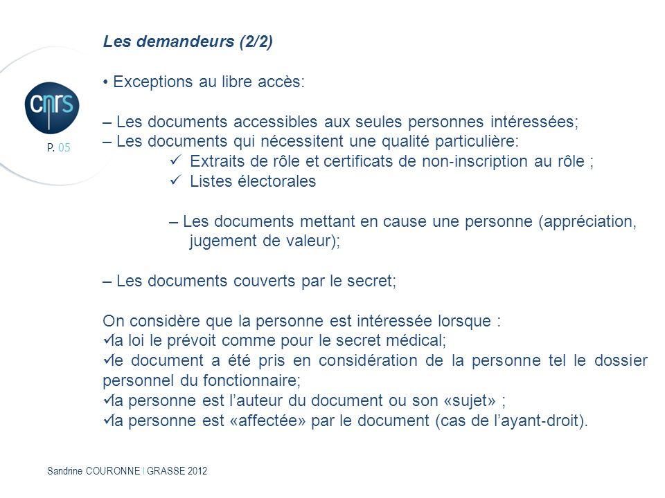 Sandrine COURONNE l GRASSE 2012 P. 05 Les demandeurs (2/2) Exceptions au libre accès: – Les documents accessibles aux seules personnes intéressées; –