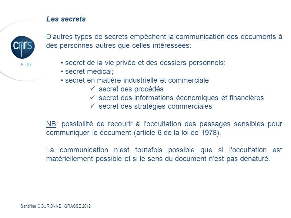 Sandrine COURONNE l GRASSE 2012 P. 06 Les secrets Dautres types de secrets empêchent la communication des documents à des personnes autres que celles