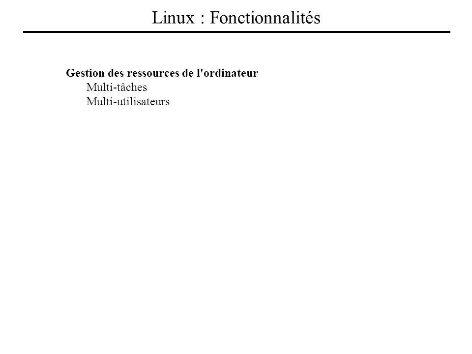Gestion des ressources de l'ordinateur Multi-tâches Multi-utilisateurs Processeur Tâche1Tâche2Tâche3 T31 T21 T11 T12 T22 T32 T22T12T31T11T21 Linux : F