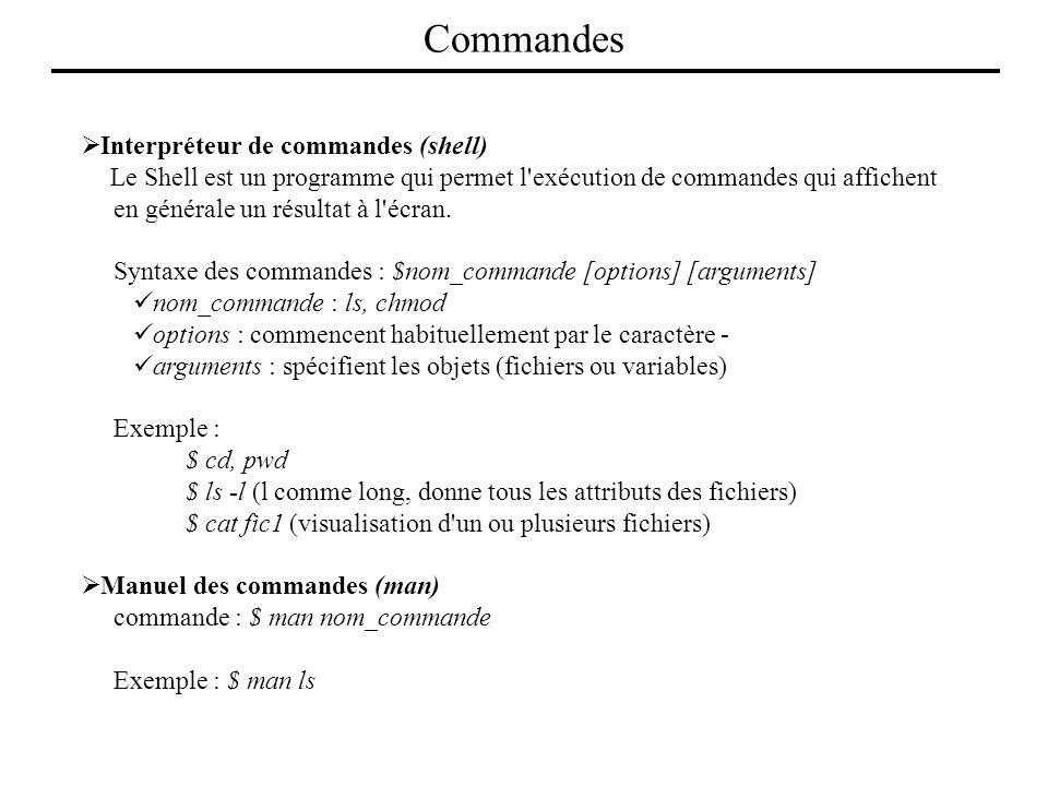 Interpréteur de commandes (shell) Le Shell est un programme qui permet l'exécution de commandes qui affichent en générale un résultat à l'écran. Synta