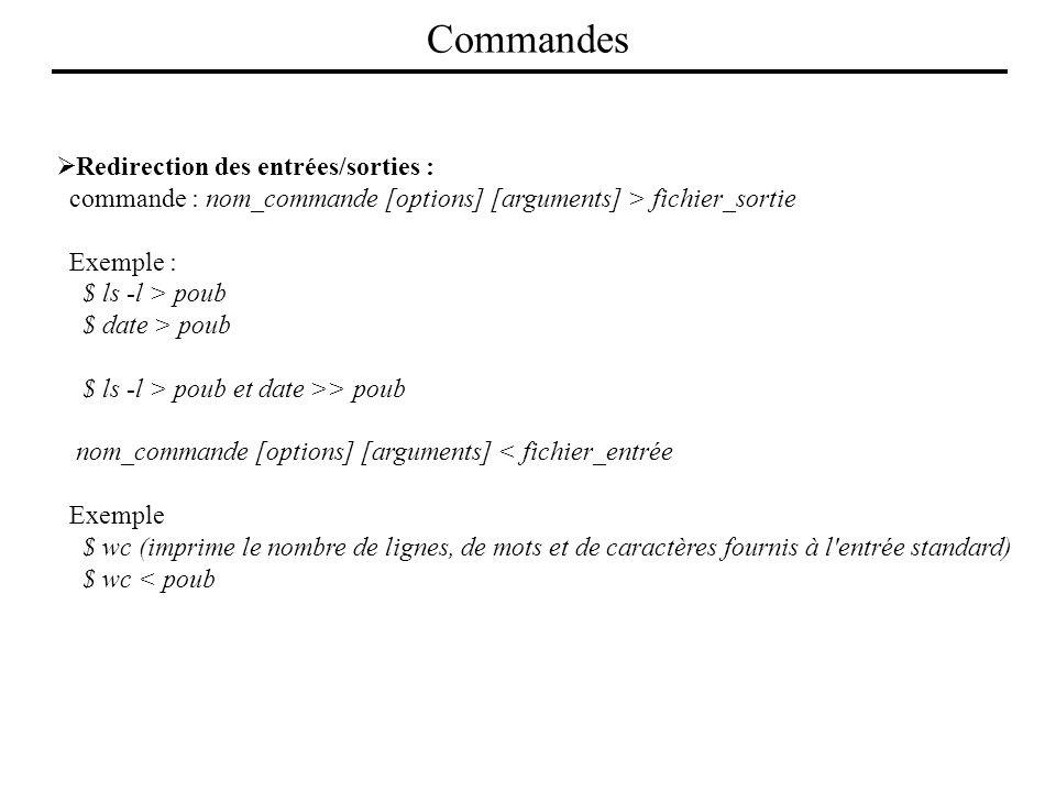 Redirection des entrées/sorties : commande : nom_commande [options] [arguments] > fichier_sortie Exemple : $ ls -l > poub $ date > poub $ ls -l > poub
